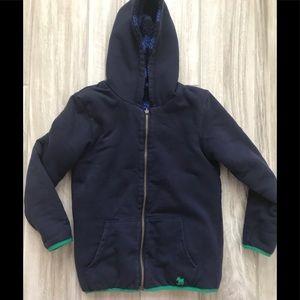 Mini Boden reversible fleece lined hoody sweater.
